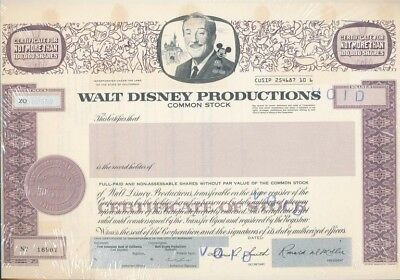 DISNEY- 1967 unused Walt Disney Productions stock certificate