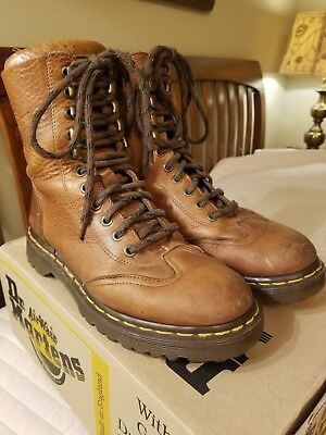 Vintage DR MARTENS 90s Tall Boots Peanut Grizzly 6 Eye, 5 Hook (Size 5 UK, 7 US)