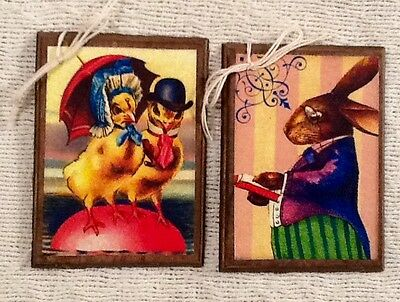 5 Handcrafted Wooden Easter BUNNY Ornaments,Easter Rabbit Hang Tags SET01