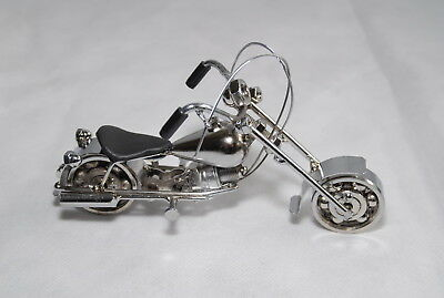 Small Silver Motorcycle Sculpture Recycled Metal Art Handmade