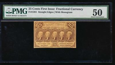 AC Fr 1281 $0.25 1862 fractional first issue PMG 50 Straight Edges w/ABNCo