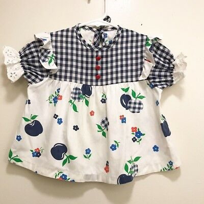 Children's Vintage Apple Print Top Shirt Dress White Blue Plaid Ruffles 3-5
