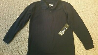 NWT-George Youth Size M-8 Uniform / Polo Shirt Long Sleeve Navy Blue