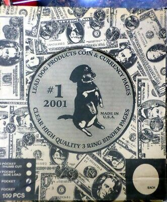(10) 3 Pocket Binder Pages for Large Currency Heavy Duty Vinyl