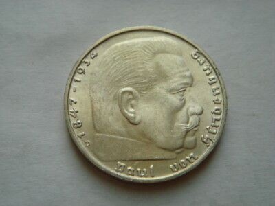 """1939 """"D"""" GERMANY Silver 2 Reichsmark  in UNC Condition."""