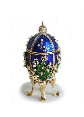 Lilies Of The Valley EGG Trinket MUSIC BOX Inspired By Peter Carl Faberge RUSSIA