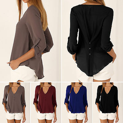 Women Summer Ladies Tops V Neck Long Sleeve Shirt Casual Chiffon Blouse T-shirt