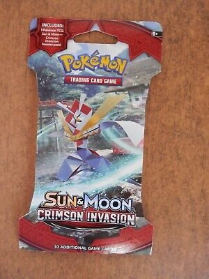 NEW SET OF 1 PACKS Pokemon Cards - Sun & Moon Crimson Invasion - Booster Pack 10