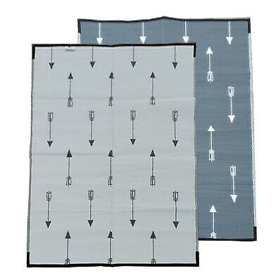Modern Plastic Outdoor Rug   ARROWS Design Rectangle in Grey & White