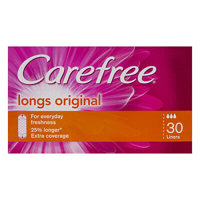 NEW Carefree Panty Liners Pack Long Liners 30 Pack Feminine Female Hygiene