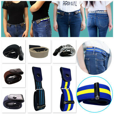 Xmas Gift Buckle-free Women Men Invisible Elastic Belt for Jeans No Bulge Hassle