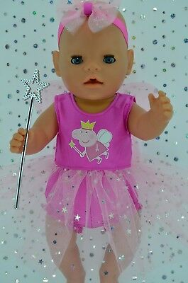 "Play n Wear Doll Clothes For 17"" Baby Born CANDY PINK FAIRY~PANTS~HEADBAND~WAND"