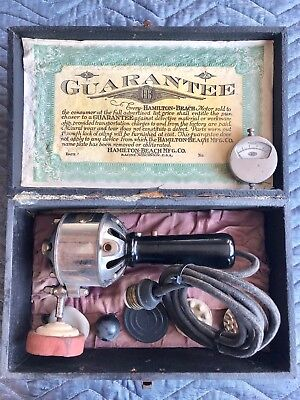1912 Hamilton Beach Newlife Vibrator D  7 access. Case; Barber Medical Vintage
