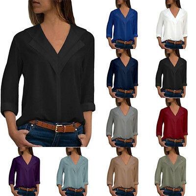 Plus Size Womens Long Sleeve Blouse Baggy Tops Ladies V Neck Lace T Shirt Top UK