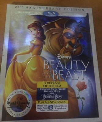 Beauty And The Beast 25th Anniversary Edition Blu Ray+DVD W/Slipcover