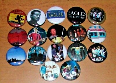 "The EAGLES  1"" Pinback Buttons - Glen Frey and Don Henley, Joe Walsh - Pins"
