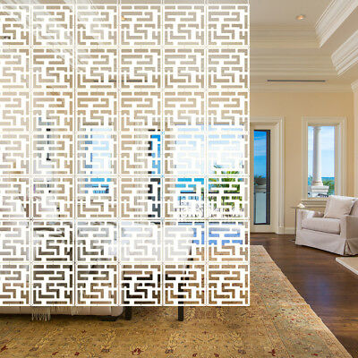12pcs Room Divider Panels Hanging Screen Curtain White