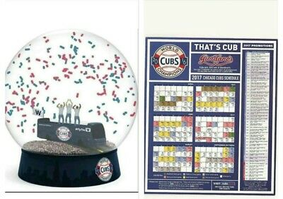 2016 Chicago Cubs World Series Parade Confetti Snow Globe SGA 6/20/17 + Magnet