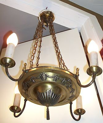 Antique Brass Pan Chandelier Victorian Hanging Ceiling Light VTG Art Deco Nouvea