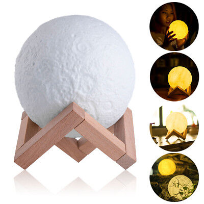 20cm 3D Printing Moon Lamp Moonlight LED Night Lunar Light Touch Color Changing