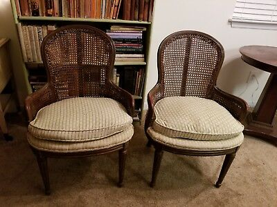 Antique French Louis XV Style Pair of Barrel Caned Bergere Arm Chairs circa 1940