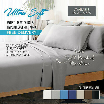 1000TC Ultra Soft 4 Pc Flat & Fitted Bed Sheet Set Pillowcases Super King Grey