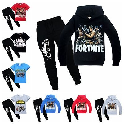 Fortnite Kids Hoodies Casual Cartoon Tops Sweatshirt +trousers Pants T-shirt hot