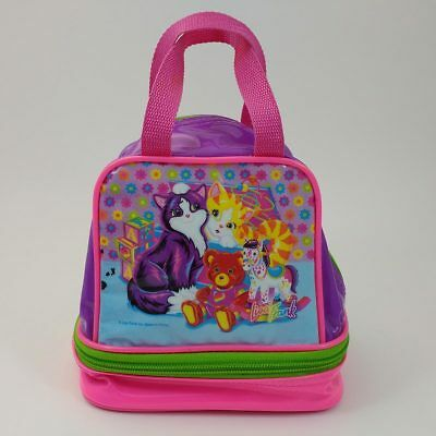 vtg Lisa Frank playtime kittens insulated lunch bag box purse neon rainbow cats