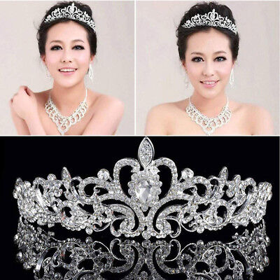 Silver Bridal Princess Austrian Crystal Tiara Wedding Crown Veil Hair Accessory