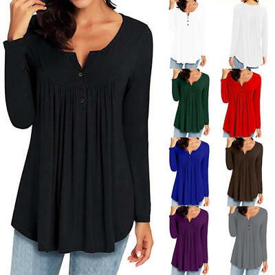 UK Plus Size Women Blouse Pleated Button Ladies Long  Sleeves T Shirt Loose Tops