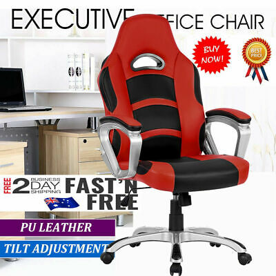 PU Leather High Back Executive Gaming Racing Seat Office Computer Chair + Padded