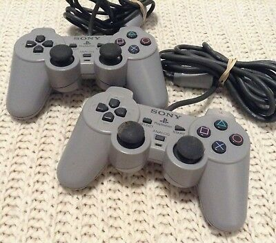 Sony Playstation 1 PS1 OEM controller lot x2 scph-1200 tested dualshock analog