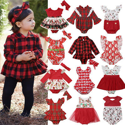 UK Xmas Newborn Baby Girl Plaid Ruffle Tutu Romper Bodysuit Dress Outfit Clothes