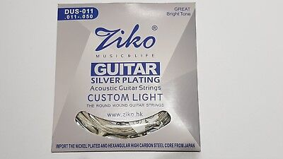 2 x Packs of Ziko Acoustic Guitar Strings - Silver Plated, Copper, Brass