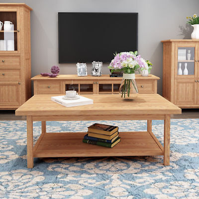 120CM Large Wooden Solid Oak Wood Coffee Table Desk with Shelf Living Room