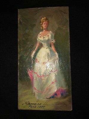 """Antique Miniature French Oil Painting Signed And Dated 1900   6"""" Tall & 3"""" Wide"""