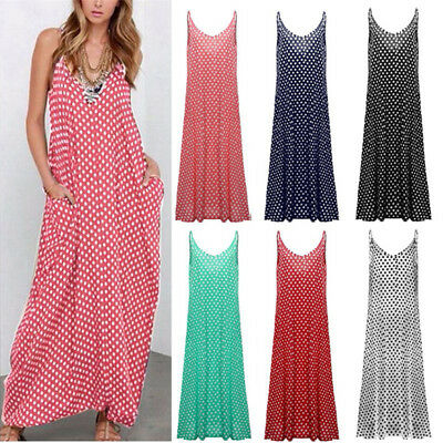AU Womens Boho Maxi Dress Summer Beach Sleeveless Polka Dot Cami Dress Plus Size