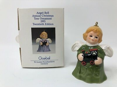 Goebel 1995 Angel Bell Christmas Tree Ornament 20th Edition Green Dress 51302