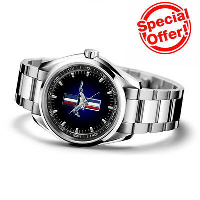 Limited! Ford Mustang Logo Custom Sport Metal Watch Mens Wristwatches *NEW*