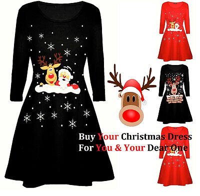 UK Womens / Ladies Christmas Snowman Dresses Xmas Santa Mini Dress Size 6-24