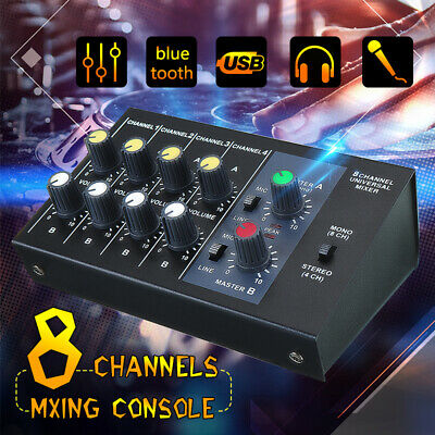 Pro R-X239 8 Channel Live Studio Audio Mixer Sound DJ USB Mixing Stage Console