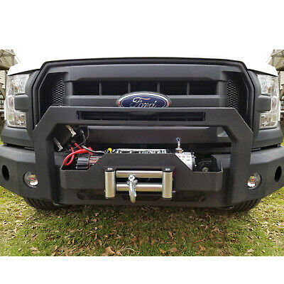 HEAVY DUTY FRONT Bumper Hood Winch Plate for Ford F150 2016-2018 Texture  Black