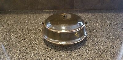 """Oriental Ceramic Stoneware Footed Covered Dish 6"""" Round 5"""" Tall"""