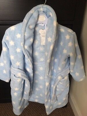 Baby Town Blue Star Boys Baby Dressing Gown BRAND NEW