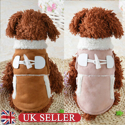 UK Dog Winter Warm Coat Fleece Jacket Puppy Clothes Pet Clothing Cat Apparel New