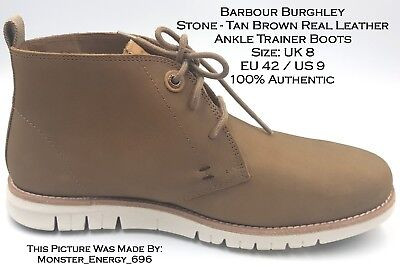 6bae9f5c8e6 💙 BARBOUR BURGHLEY Stone Real Leather Casual Desert Chukka Ankle Trainers  Boots
