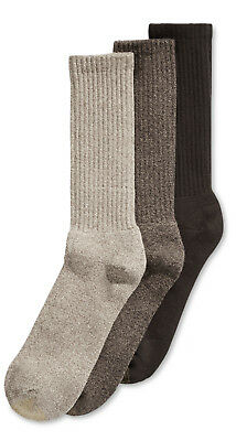 $40 GOLD TOE Men's 3-Pair Pack BROWN BEIGE CUSHIONED COTTON CREW SOCKS Size 6-12