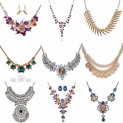 Fashion Women Necklace Jewelry Crystal Statement Chain Choker Chunky Bib Pendant