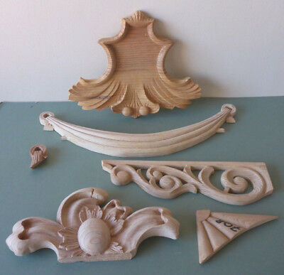 Assorted Shabby Chic Pine Wood Applique Carvings   (Batch 201)
