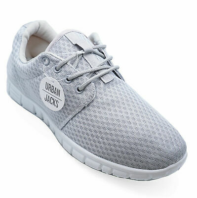 Mens Grey Lace-Up Comfy Memory Foam Gym Walking Trainers Plimsolls Shoes 7-12